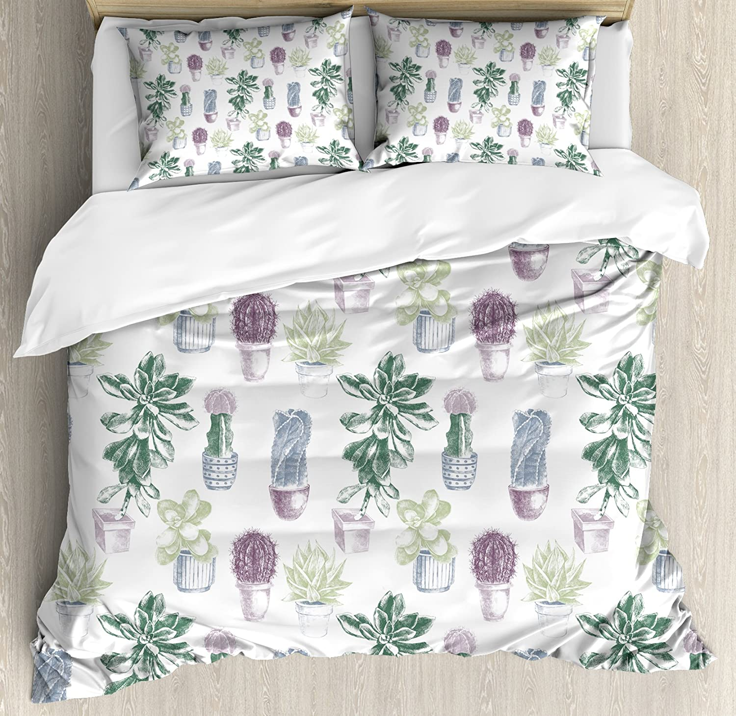 Ambesonne Cactus Duvet Cover Set, Mexican Local Plants Succulents Indigenous Foliage in Flowerpots Domestic Flora Art, Decorative 3 Piece Bedding Set with 2 Pillow Shams, King Size, Dark Lavender