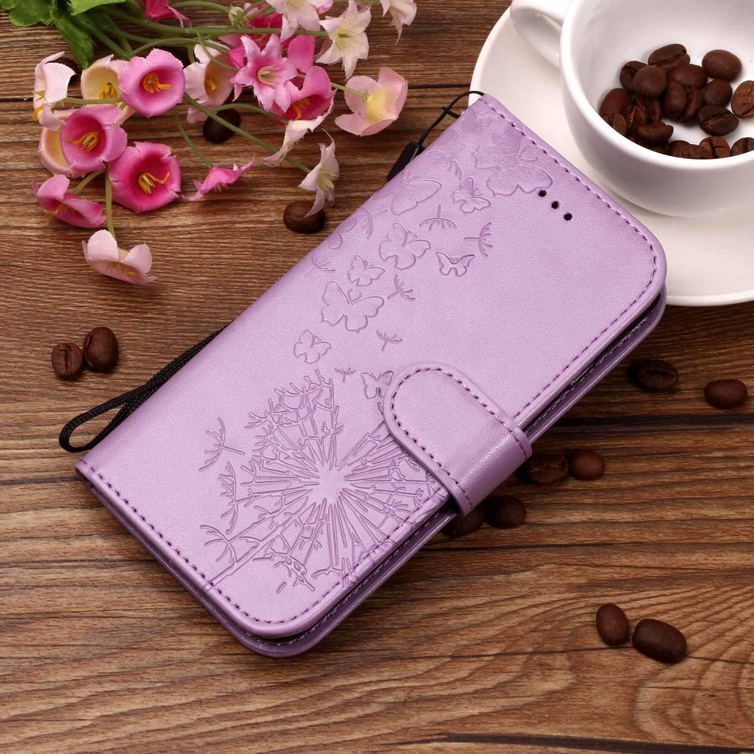 iPhone6 Plus /& iPhone6S Plus enchased Pink butterflyFlip Case Leather Cover Kickstand Card Holders Wallet Cover Extra-Shockproof Business