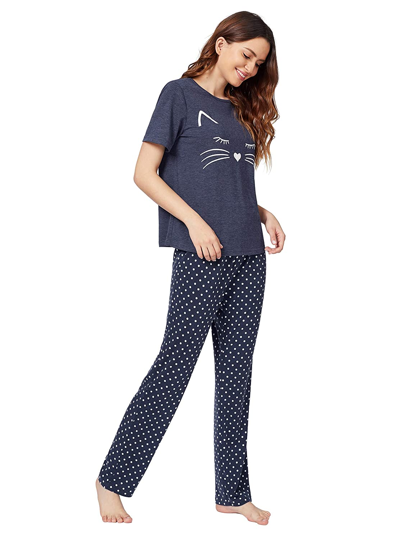 51f1ec1c53e DIDK Women s Kitty Cat Print Tee and Polka Dot Pants Pajama Set at Amazon  Women s Clothing store