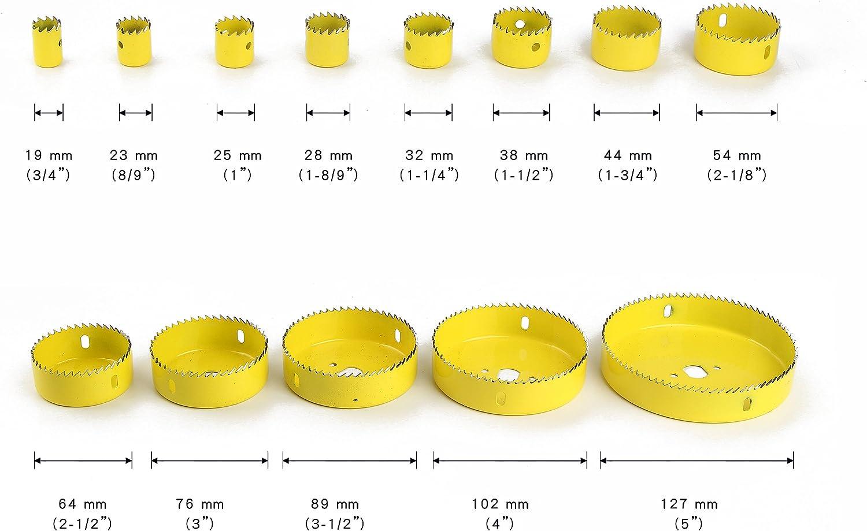 Varillas de Extensi/ón Juego de 17 Coronas Perforadora 2 Taladros 2 Llaves Hexagonales Sierra de 13 Agujeros 19 mm-76 mm