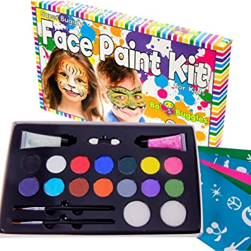Amazon face paint kit with 50 stencils 14 paints 2 glitter face paint kit with 50 stencils 14 paints 2 glitter gels quotsuper sciox Gallery