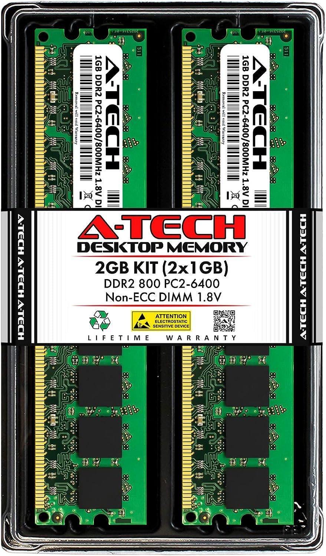 A-Tech 2GB (2x1GB) DDR2 800MHz DIMM PC2-6400 1.8V CL6 240-Pin Non-ECC UDIMM Desktop RAM Memory Upgrade Kit