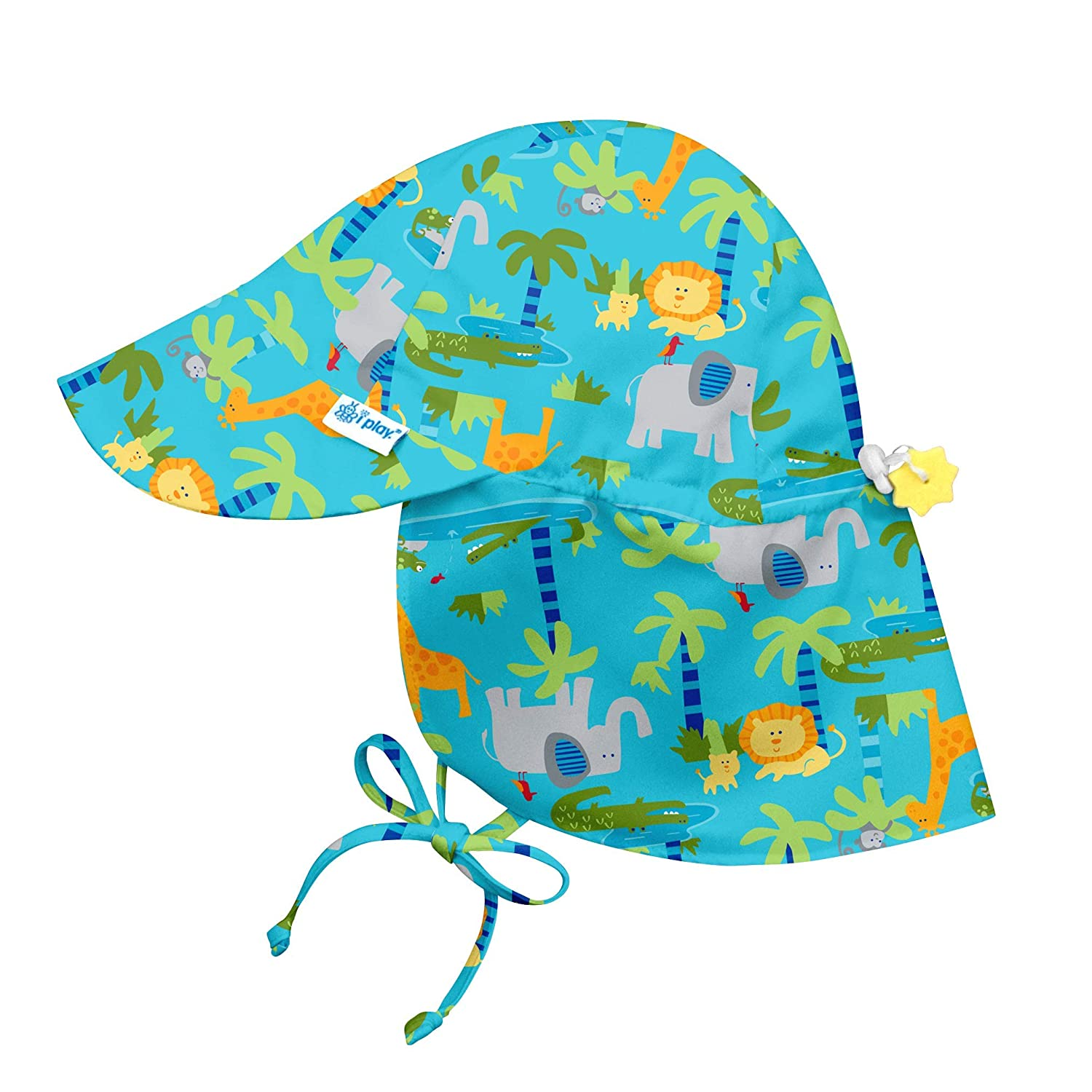 c8dd778f i play. Flap Hat (0-6 Months, Aqua Jungle): Amazon.co.uk: Baby