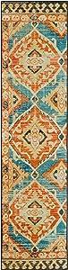 Mohawk Home Paola Teal (2' X 8') Geometric Southwestern Runner Rug