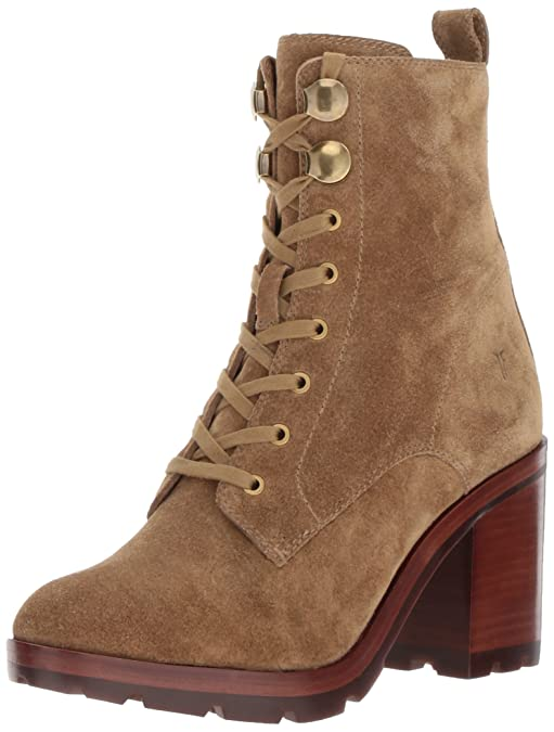 FRYE Women's Myra Lug Combat Boot, Sand Soft Oiled Suede, 11 M US
