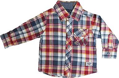 Blue Seven - Camisa - Cuadrados - cuello mao - para bebé niño ...