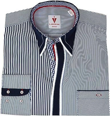 Camisa de diseño de rayas azules y blancas. Blanco M: Amazon ...