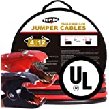 TOPDC 100% Copper Jumper Cables 4 Gauge 12 Feet Heavy Duty Booster Cables with Carry Bag and Safety Gloves (4AWG x 12Ft…