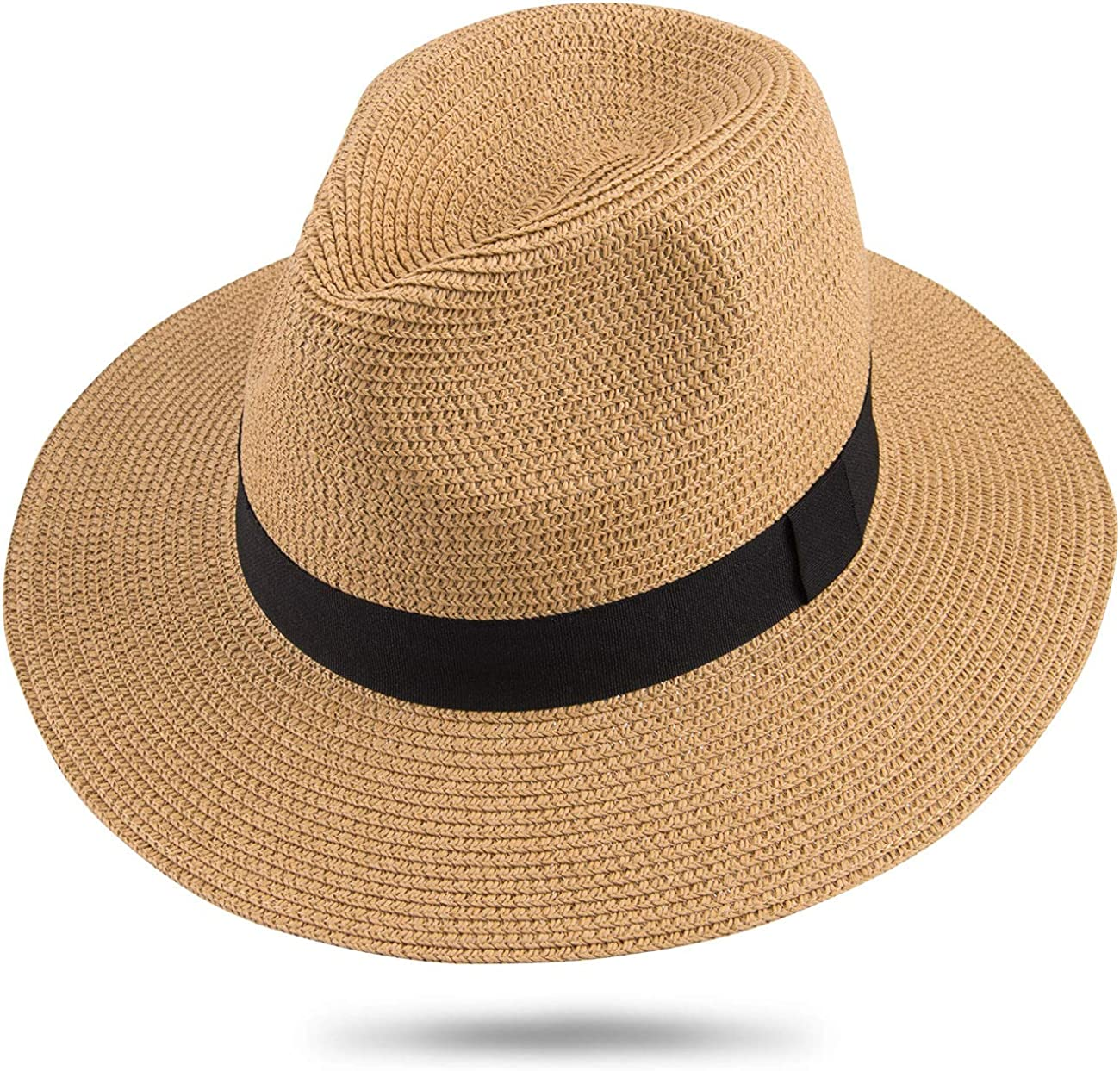 Maylisacc Panama Hut Herren Damen Sommer Fedora Strohhut Rollbar UV Sonnenhut