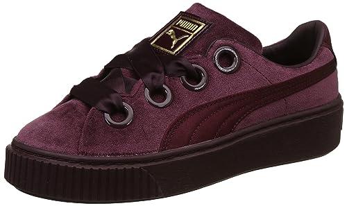 Puma Women s Platform Kiss Velvet Wn SWomen Winetasting-Gold Sneakers-7.5  UK India 12434419d