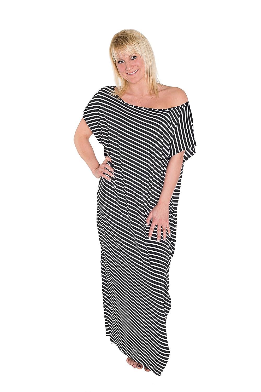 HO-Ersoka Damen Sommer-Kleid Maxi-Strandkleid Long-Shirt asymmetrisch schulterfrei Kurzarm