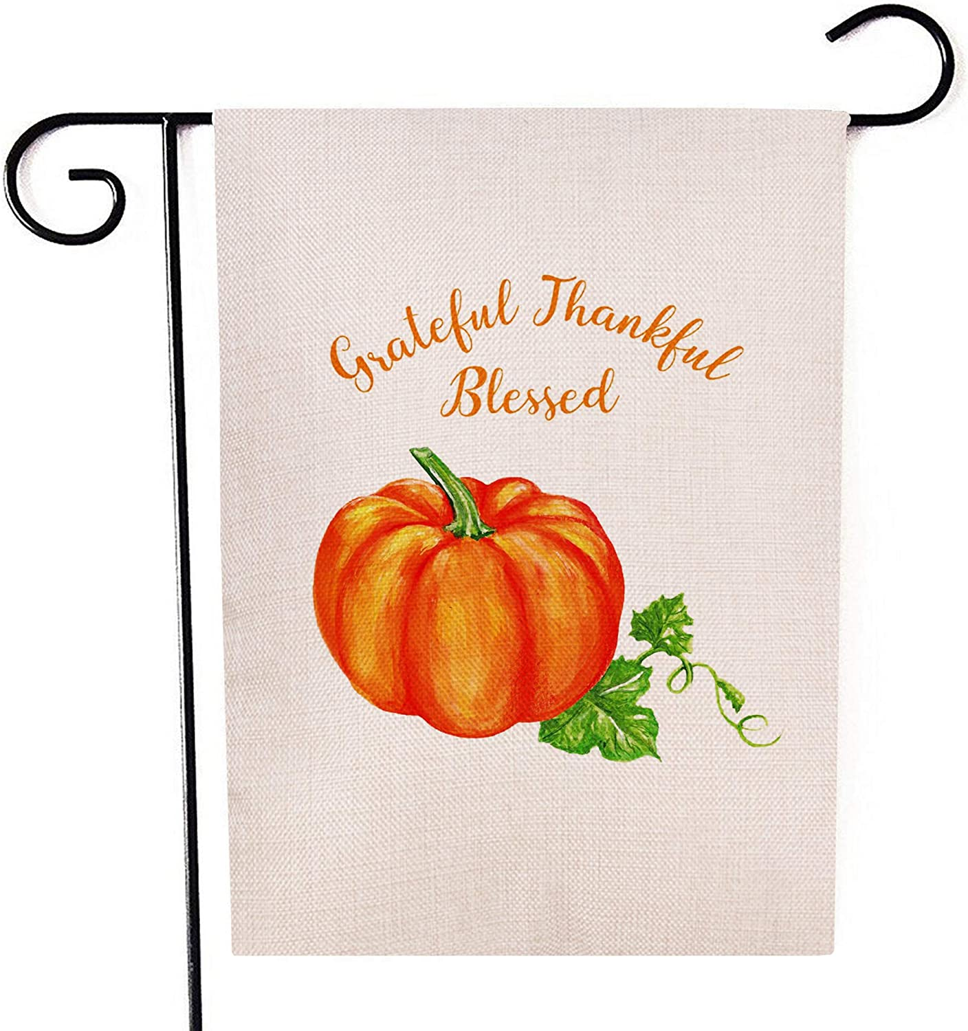 """Grateful Thankful Blessed Pumpkin Garden Flag Double-Sided Farmhouse Autumn Yard Burlap Banner,Flag for Fall,Thanksgiving Indoor Outdoor Decoration 12.6"""" x 18.5"""""""