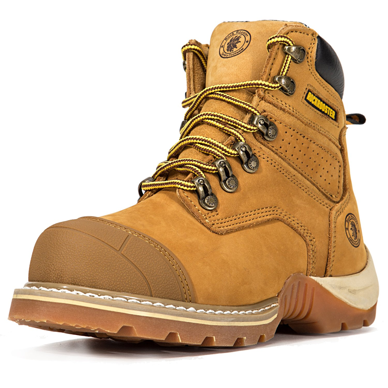 ROCKROOSTER Women's Work Boots, Men's Hiking Boot, Safety Shoes AP268 Brown, US (M8, F9.5)