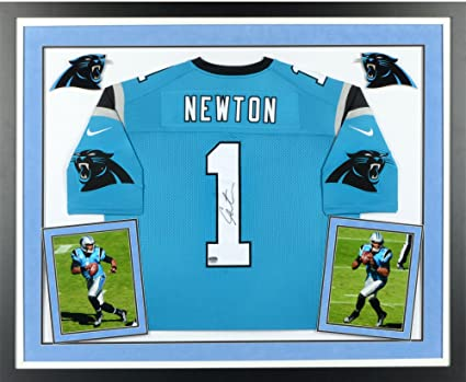 2aec13498 Cam Newton Carolina Panthers Deluxe Framed Autographed Nike Limited Blue  Jersey - Fanatics Authentic Certified at Amazon's Sports Collectibles Store