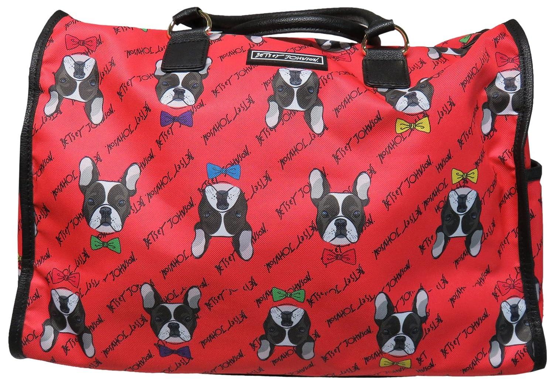 Betsey Johnson Large Nylon Weekender Duffel Bag Coral//Bulldogs