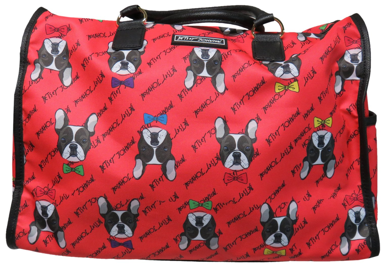 Betsey Johnson Large Nylon Weekender Duffel Bag, Coral/Bulldogs