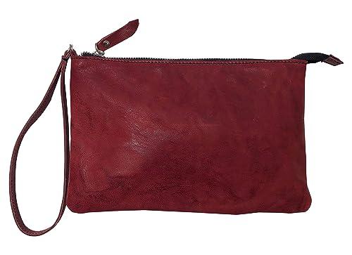 Borsetta pochette borsa a mano in vera pelle riciclata stropicciata effetto vintage Col. Rosso scuro fatto a mano in Italia Made in Italy