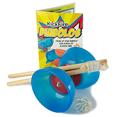 KickFire Diabolos Blue Comet Chinese YoYo Diabolo Set with Wooden Sticks and String: Toys & Games