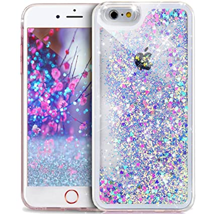 new products d4fe1 e97aa iPhone SE Case,iPhone 5S Case,iPhone 5 Case,ikasus iPhone SE 5S 5 Glitter  Case,[Blue Pink] Quicksand Sparkle Love Heart Running Glitter Flowing ...