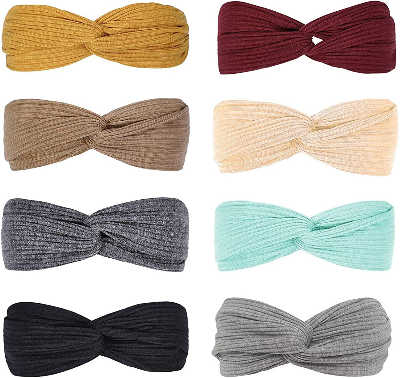 DRESHOW 8 Piezas Diadema para Mujer Diadema Boho Criss Cross Cabeza Anchas Cabello Turbante Banda Accesorio Pelo para Mujer Niñas