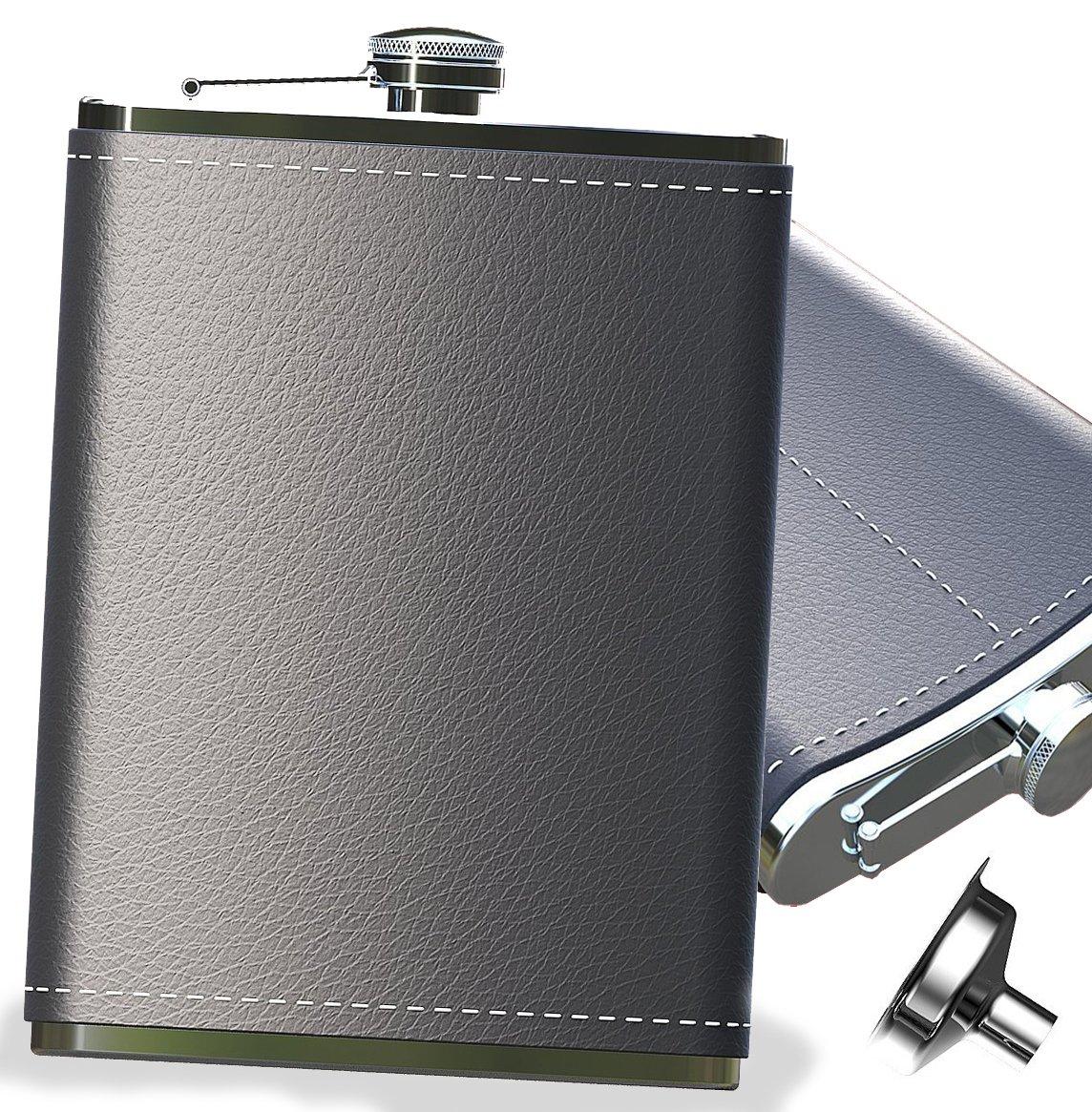 世界的に Pocket Hip Flask 210ml with Drinking Shot Funnel- 18/8 Stainless For Steel with Black Leather Wrapped Cover For Liquor Shot Drinking B07B868KSH, 京のくすり屋:78ce2d9d --- a0267596.xsph.ru