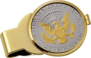 product image for Coin Money Clip - Presidential Seal JFK Half Dollar Selectively Layered in Pure 24k Gold   Brass Moneyclip Layered in Pure 24k Gold   Holds Currency, Credit Cards, Cash   Genuine U.S. Coin