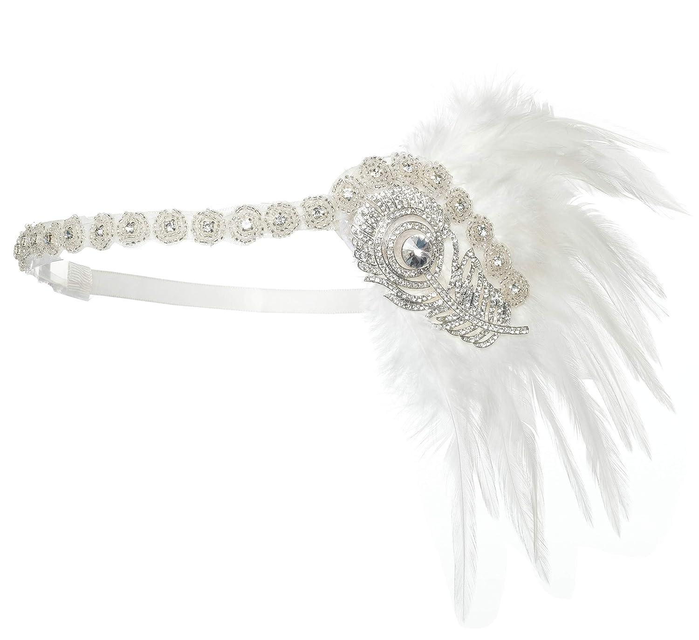 Zivyes Damen Feder Stirnband 1920s Stil Flapper Art Deco Inspiriert von Great Gatsby Blatt Blinkende Kristalle Haarband