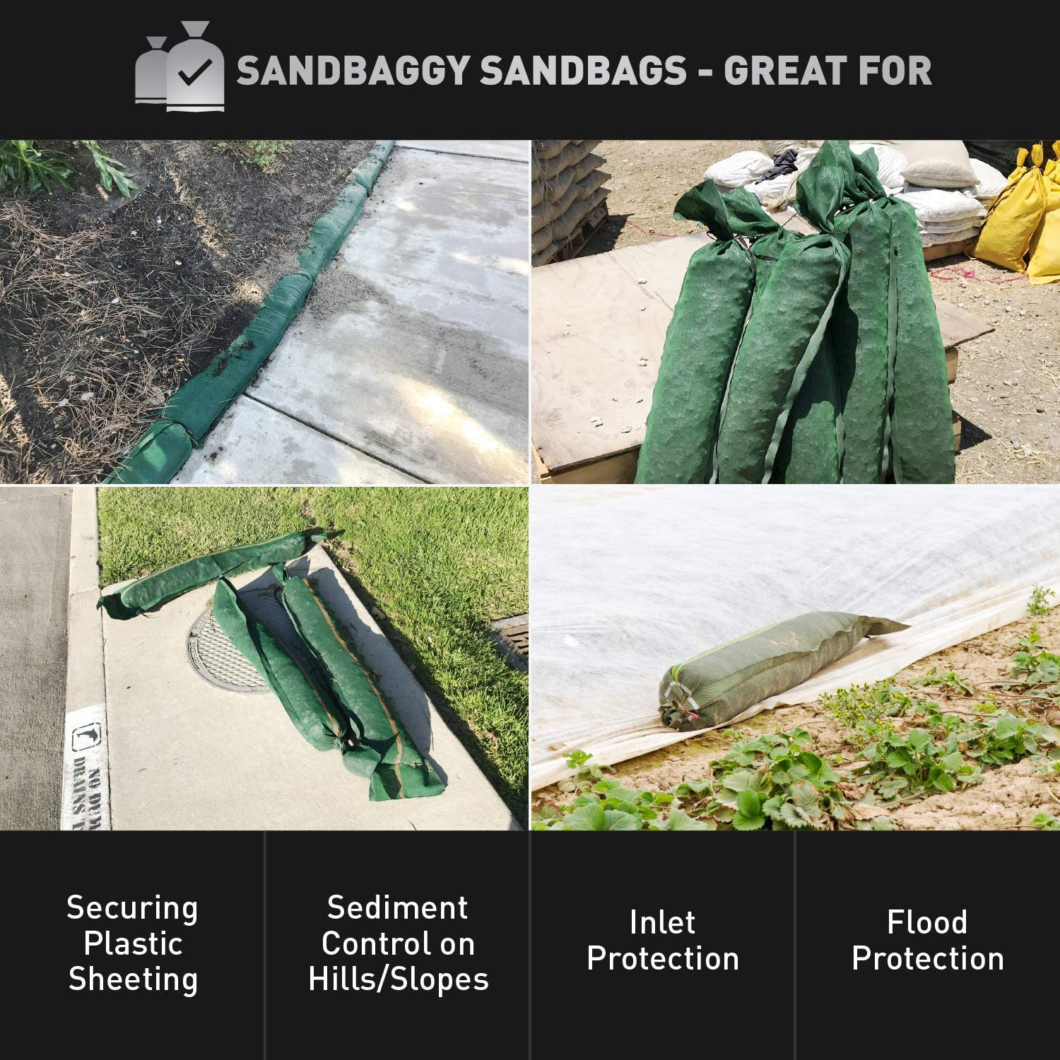 Pack of 50 Store Bags Sandbaggy Flood Water Barrier Tent Sandbags Monofilament 11 x 48 Long-Lasting Sandbags Sandbags for Flooding Water Curb Sand Bag Lasts 1-2 Yrs