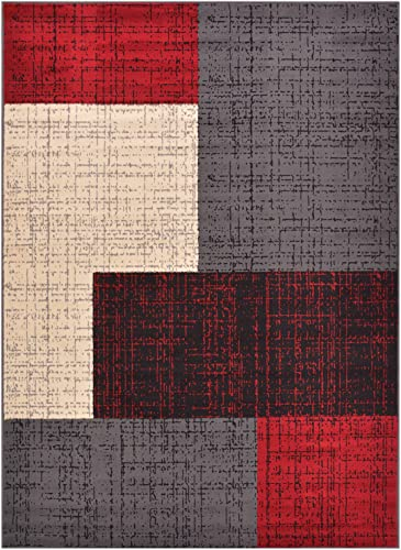 Conur Collection Squares Geometric Abstract Area Rug Rugs Modern Contemporary Area Rug 2 Color Options Red Grey, 7 10 x 9 10