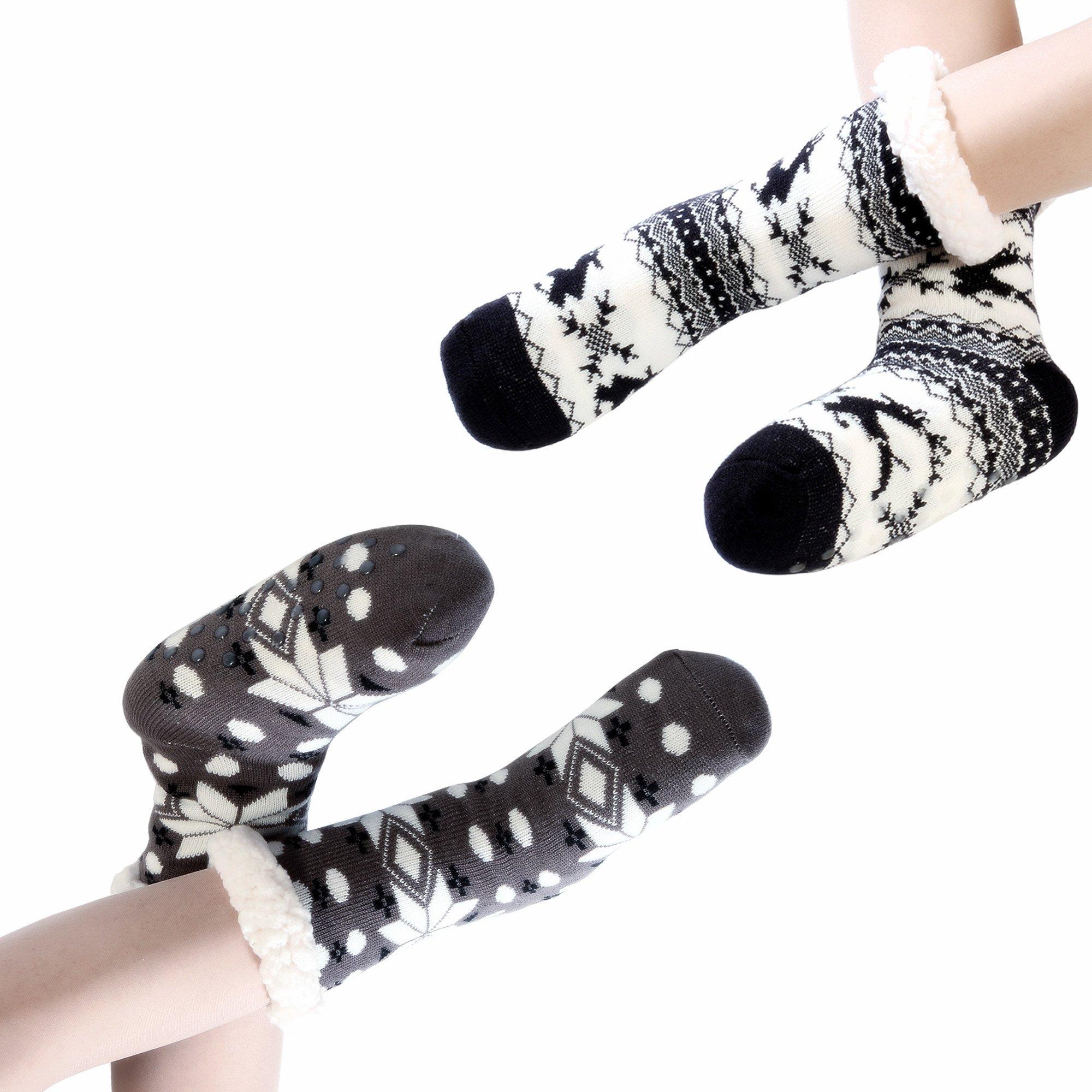 2 Pairs Slipper Socks for Women Fleece Lining House Socks Fuzzy Soft Knee Highs Non Skid Winter Warm Slipper Socks