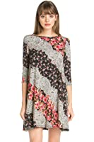 Junky Closet Women's Comfy Casual 3/4 Sleeve Print Tunic Dress Limited