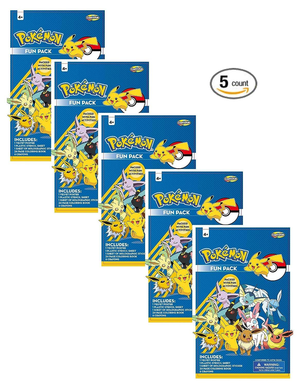 Amazon.com: POKEMON fun pack ( 5 count) / POKEMON coloring book ...