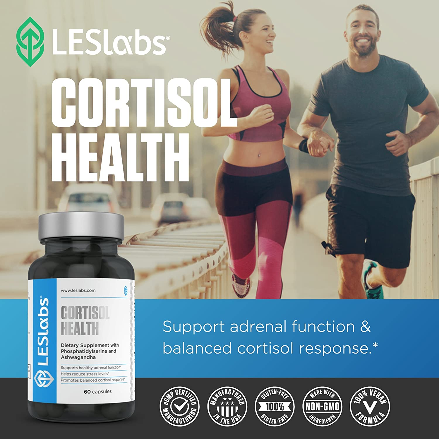 LES Labs Cortisol Health, Natural Supplement for Adrenal Support, Stress  Relief & Balanced Cortisol