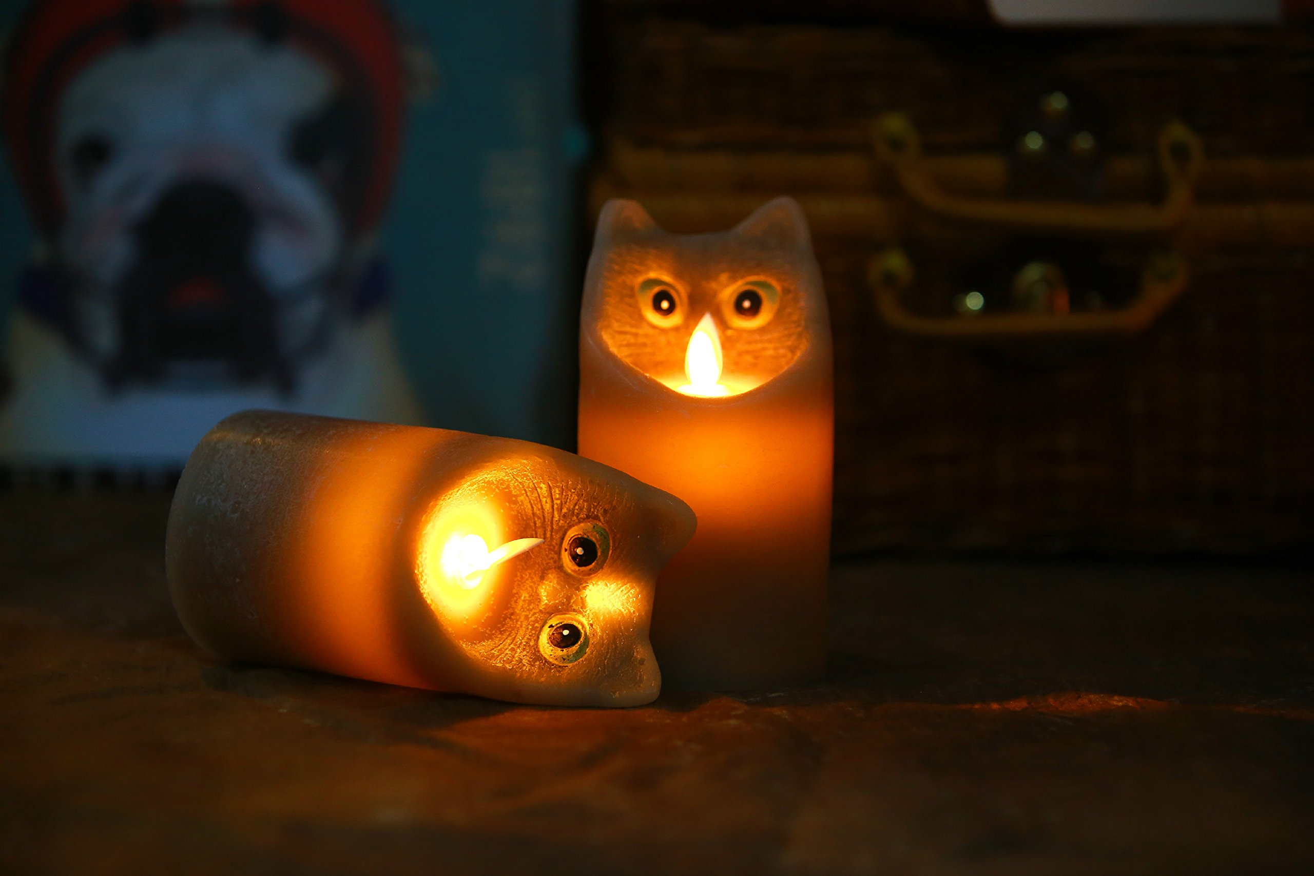 Kitch Aroma Marble Grey Color Cartoon Cat Flameless Candle with Timer For Birthday Gifts,Dia 3'' x H6'',Pack of 2 by Kitch Aroma (Image #6)