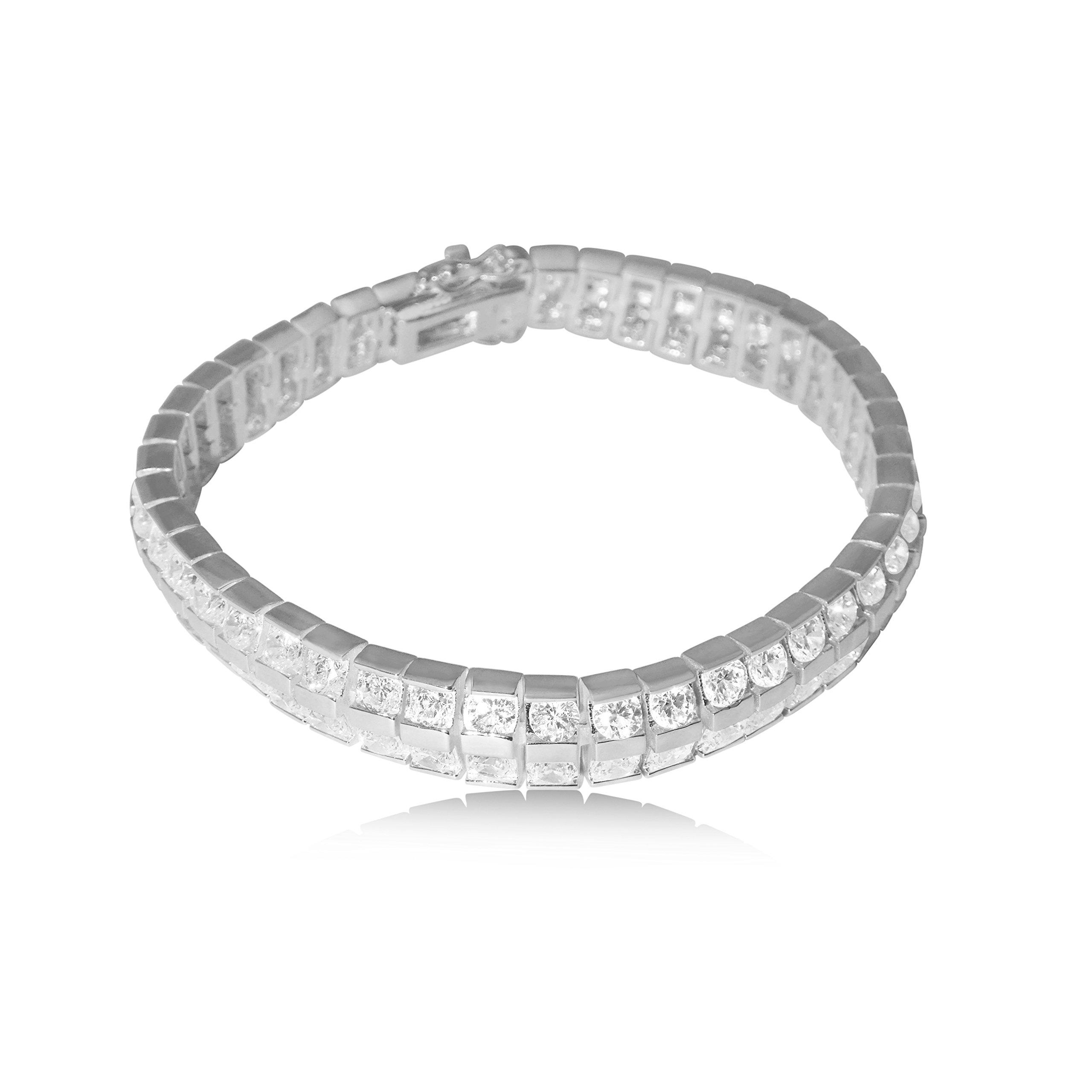 CORTINA JEWELRY - Cubic Zirconia Crystal & Sterling Wrap Bracelet - Premium Heavy Rhodium - Made in America