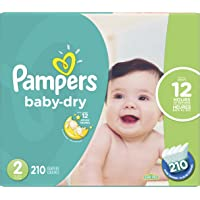 Pampers Diapers Size 2, Baby Dry Disposable Baby Diapers, 210 Count, Economy Pack Plus