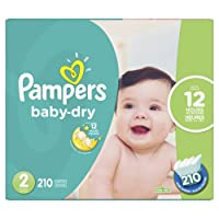 Pampers Baby Dry Disposable Diapers Size 2, Economy Pack Plus, 210 Count