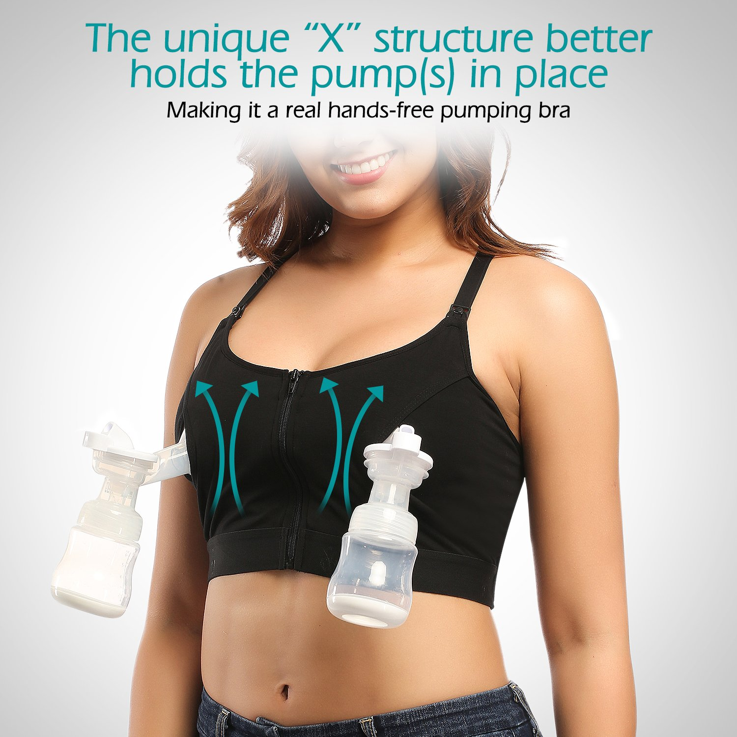 Hands-Free Pumping and Nursing Bra Adjustable Breast-Pumps Holding Bra by Momcozy - Suitable for Breastfeeding-Pumps by Medela, Lansinoh, Philips AVENT, Bellema, Spectra, Evenflo (Medium, Black) by Momcozy (Image #4)