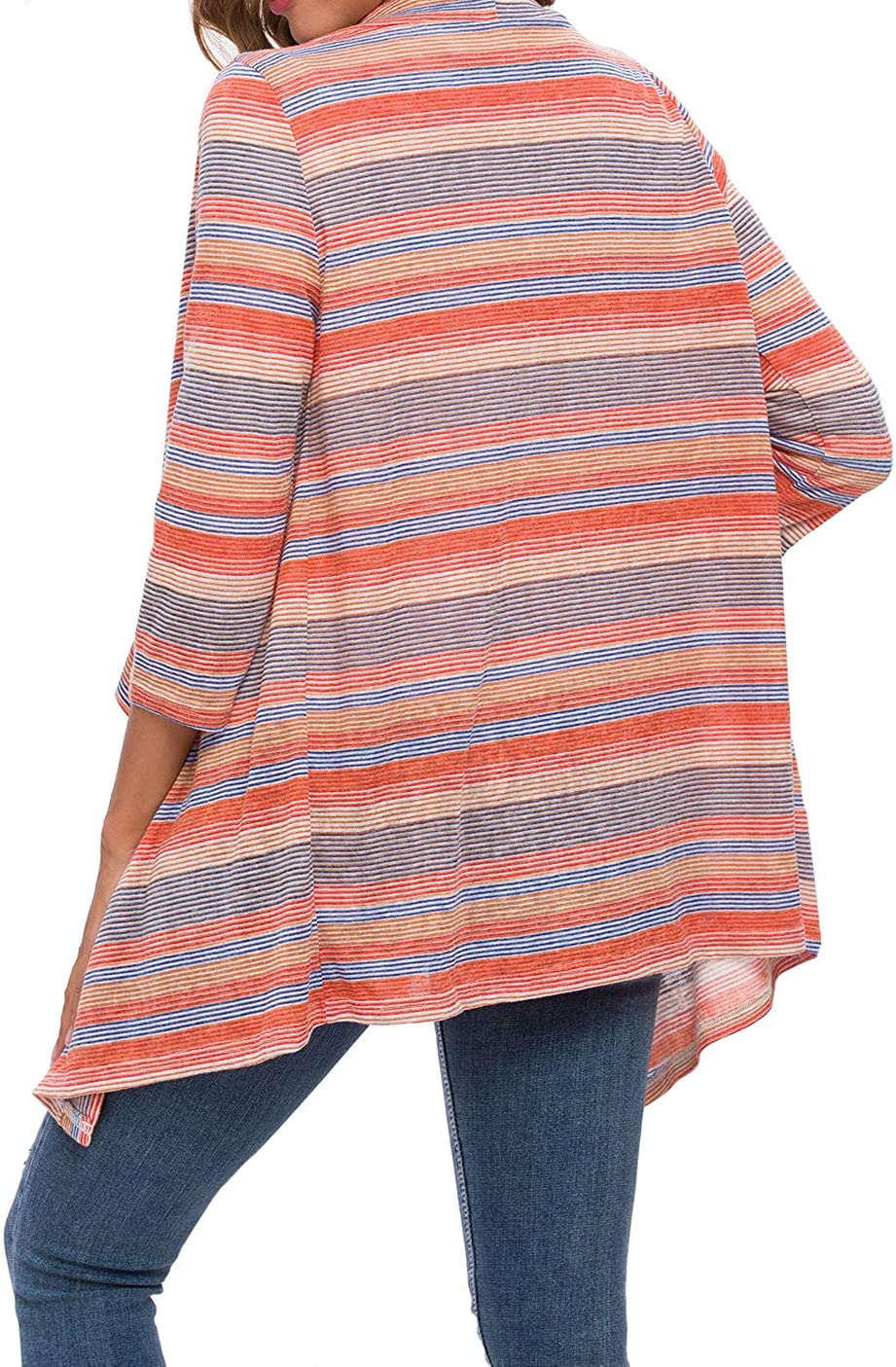 DEARCASE Womens 3//4 Sleeve Cardigans Striped Printed Open Front Draped Kimono Loose Cardigan