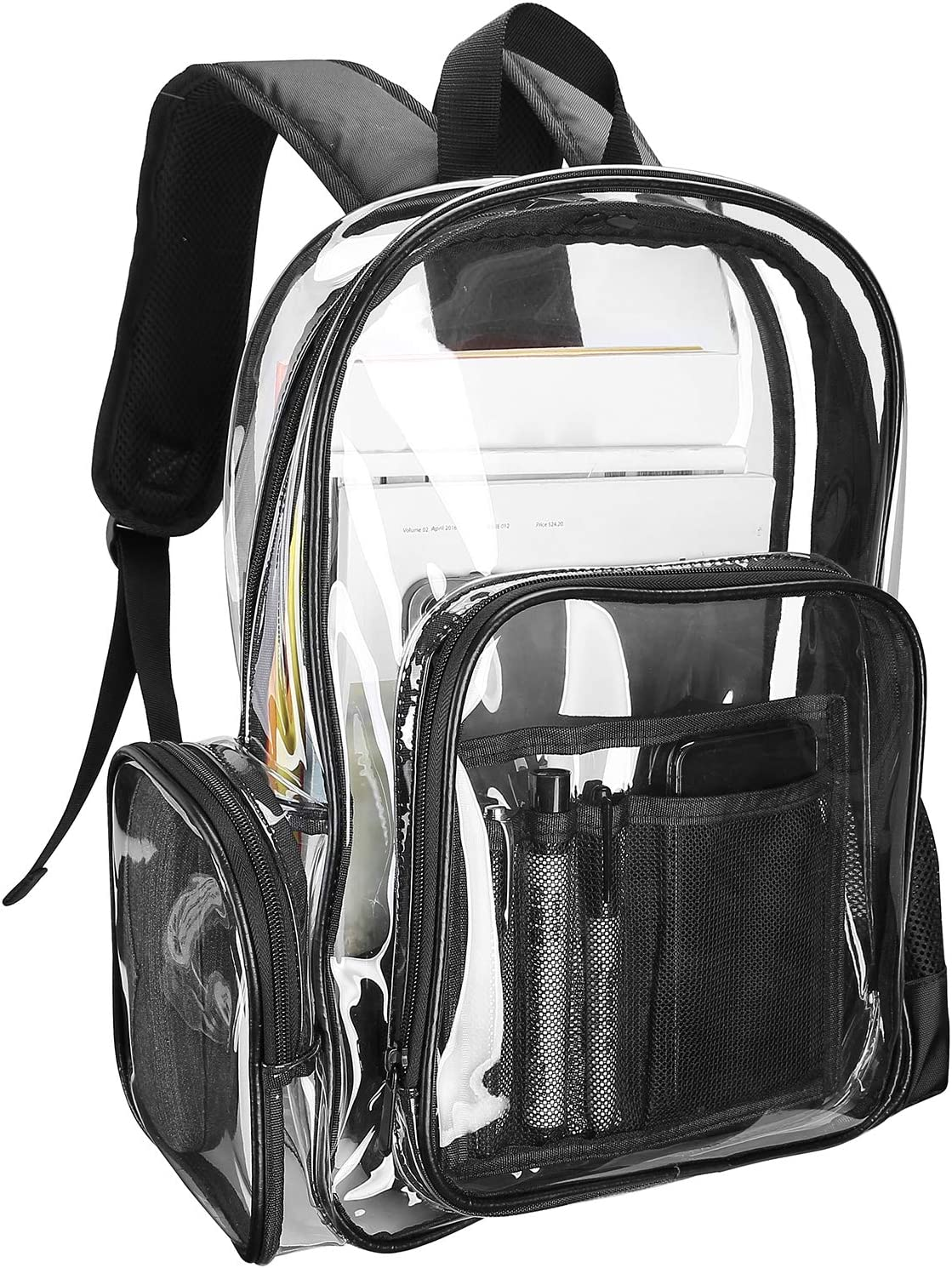 ProCase Heavy Duty Clear Backpack, See Through Backpacks Transparent Clear Large Bookbag for School Work Stadium Security Travel Sporting Events -Clear