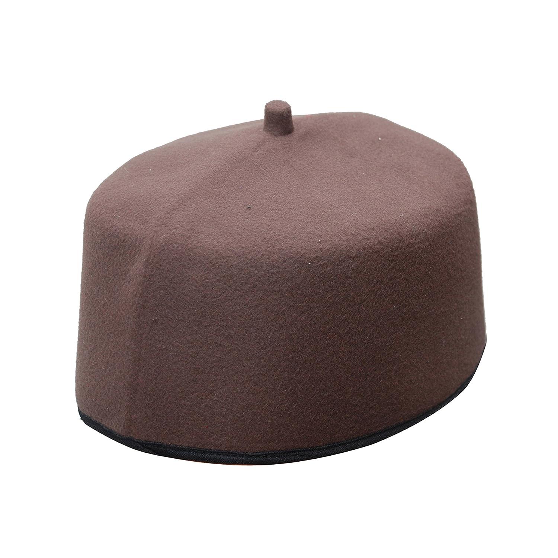 9cf38efd2 TheKufi Handmade Dark Brown Fez-Style Kufi Tip Prayer Cap Hat (M ...
