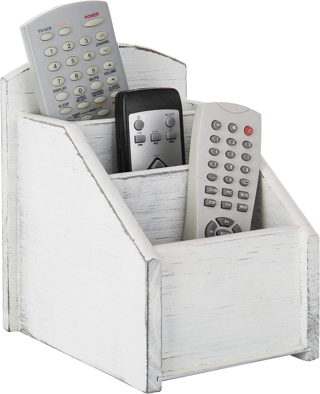 MyGift Vintage White Wood 3-Slot Remote Control Storage Caddy/Media Organizer Rack