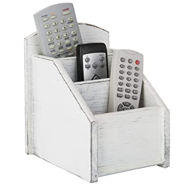 MyGift Vintage White Wood 3-Slot Remote Control Storage Caddy/Media Organizer Rack