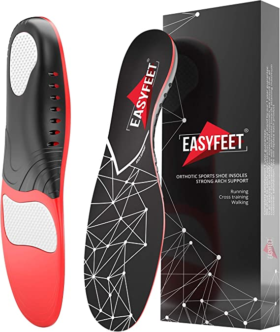 3//4 Insert Insole for Foot Pain from Plantar Fasciitis High Arch,Flatfoot,Over-Pronation Compound Orthopedic Arch Support Insole