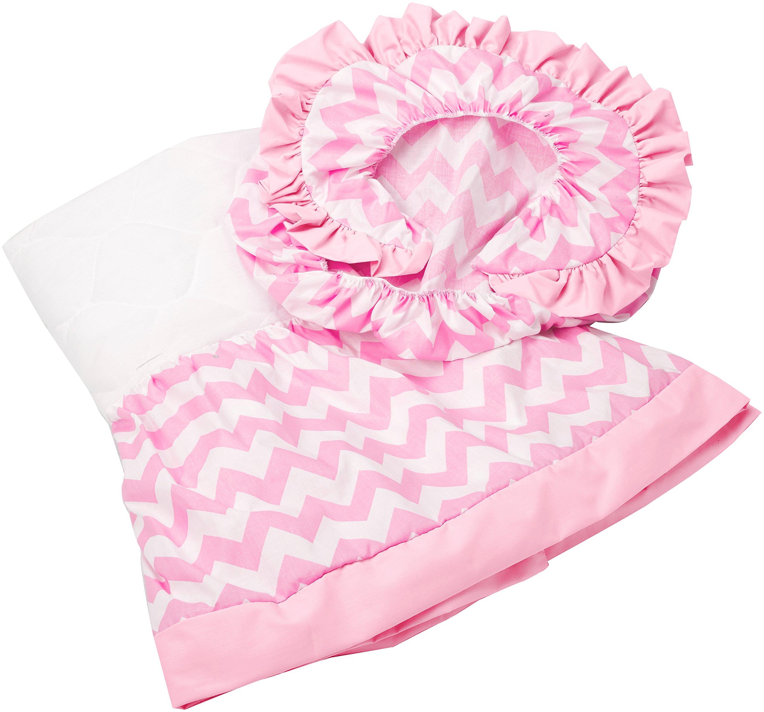 aBaby Chevron Short Bassinet Skirt, Pink, Large