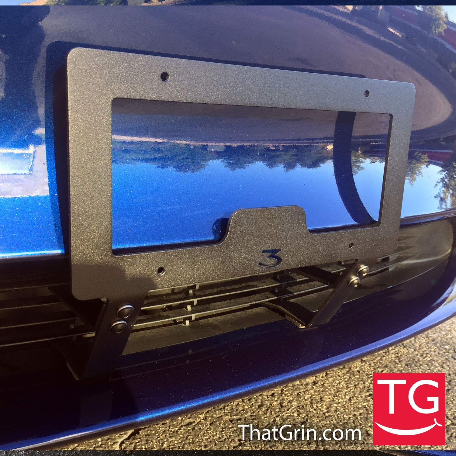 ThatGrin LLC Genuine Slipstream Bracket for Tesla Model 3 - USA Made Version (Patent Pending) - NO Drilling, NO Holes, NO Adhesives Front License Plate Mounting Holder by TheTes Grin LLC (Image #6)