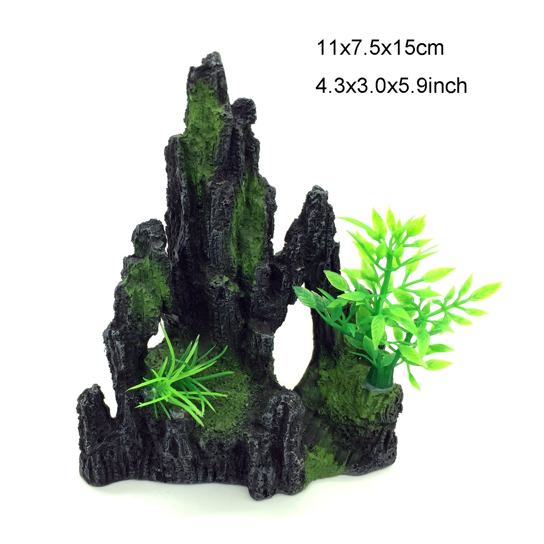 PietyPet Conjunto de decoración para pecera, acuario, resina, decoración, árbol, casa, cueva, puente, decoración de peces, 4 piezas, color negro: Amazon.es: ...