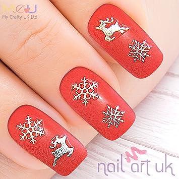 Amazon Silver Snowflake Reindeer Christmas Adhesive Nail Art