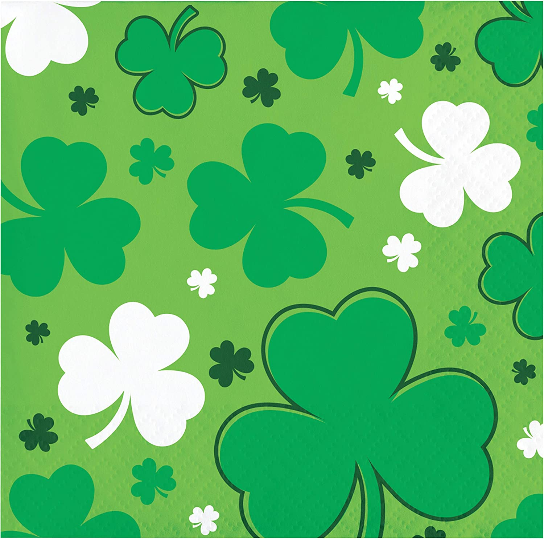 "Creative Converting Happy St. Patrick's Day Beverage Napkins, 5"", Multi-color"