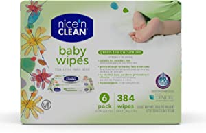 Nice 'n Clean Scented Baby Wipes (64 Total Wipes) | Suitable for Sensitive Skin on Hands, Face, Bottom | Made w/Plant-Based Fibers | Green Tea Cucumber Scent